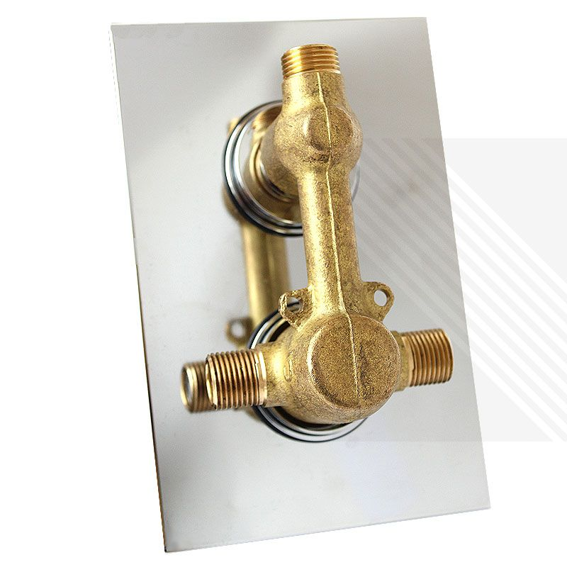 Thermostatic 1 Way Shower Valve 2 Square Handles With Round Overhead Drencher EcoSpa